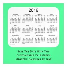 2016 Pale Green Calendar by Janz 5 x 5 Magnet Magnetic Invitations
