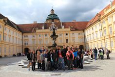 University of Redlands School of Business Study Abroad students in the courtyard of Melk Abbey in Austria