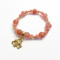 Cherry Quartz Stretch Bracelet Gold Bead Accents by JulemiJewelry, $20.00