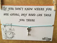 Friendship bracelet with tibetan silver charm and quote, the perfect gift for an Alice in Wonderland fan!  Made from 320mm of cord, the bracelet