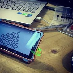 #TheMiK smartphone stand in our shop using the autodesk #fusion360 mobile app.  We also have the #cnc CAM loaded of a new version of TheMiK on the screen, stay tuned! #d2a #instamachinist #madeincanada #manufacturer #productdesign #prototype #entrepreneur #laser #lasercutting #smartphone #smartphonestand #samsunggalaxy #keychain #multitool #everydaycarry #cncshop #cncmachining #newproduct #iwantone #minimalist #simple #iphone6plus #iphonestand #crowdfunding #kickstarter #design #lifehack