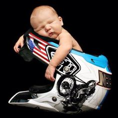 Newborn photo idea for a racing dad (7 days old)