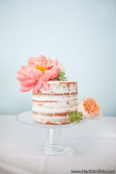 Peony Naked Cake Succulents Miami Wedding Coral Aqua - Oceanside Bohemian Wedding by Sweetest Celebrations - Flowers by @everafterfloral Cake by @desiann3