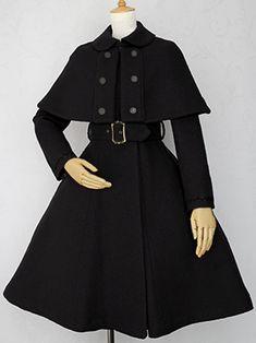 ケープ付アイリーンコート Pop Art Fashion, Dark Fashion, Fashion Design, Harajuku Fashion, Kawaii Fashion, Looks Dark, Gothic Lolita Fashion, Kawaii Clothes, Cosplay Outfits