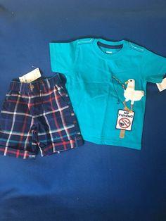 NWT Gymboree 18-24 Months Boy's Two Piece Plaid Shorts Outfit Set  #Gymboree