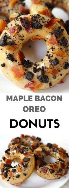 Maple Bacon Oreo Donuts recipe starts with a homemade baked donut topped with a . Maple Bacon Oreo Donuts recipe starts with a homemade baked donut topped with a unique combination of sweet and salt Oreo Donuts, Diy Donuts, Doughnuts, Donut Flavors, Donut Toppings, Healthy Donuts, Delicious Donuts, Halloween Donuts, Bacon Recipes