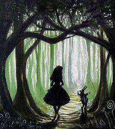 ooak Original rare art painted alice in wonderland fantasy painting artwork