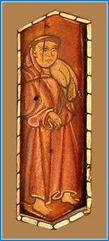 La figura de un fraile franciscano ocupa la siguiente tabica. Tonsurado, viste un manto cerrado como una gran esclavina con abertura para el cuello, porta una especie de saco o bulto indefinido sobre el hombro izquierdo y va descalzo, al igual que el que veremos en la sección séptima.