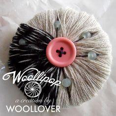 Wool brooch Handmade SUGAR with vintage button by WOOLLOVERlab, €15.00