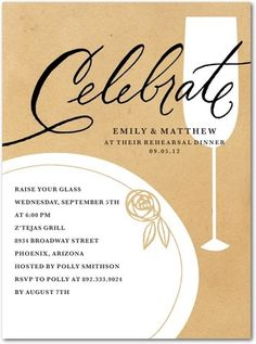 Shutterfly offers rehearsal dinner invitations in beautiful styles and colors. Create wedding rehearsal dinner invitations to celebrate your special day + Save up to Holiday Party Invitations, Rehearsal Dinner Invitations, Unique Invitations, Wedding Rehearsal, Rehearsal Dinners, Wedding Invitations, Invites, Business Invitation, Wedding Paper Divas