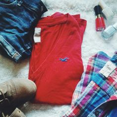 Hollister red Long sleeve shirt A Hollister red long sleeve shirt that goes great with my two other listings the hollister jean shorts and the hollister plaid shirt *True to size *100 percent cotton *LIKE NEW CONDITION *No wear or tear, barely worn Hollister Tops Tees - Long Sleeve