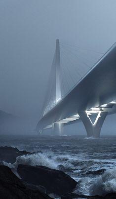 Danjiang Bridge by Zaha Hadid bridge across Taipei's Tamsui River