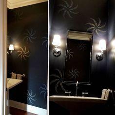 A DIY stenciled black bathroom using the Pheasant Headress Stencil by Kim Myles from Cutting Edge Stencils. http://www.cuttingedgestencils.com/pheasant-feather-stencil.html