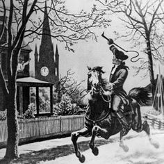 """Illustration: """"The Midnight Ride of Paul Revere."""" Credit: National Archives' Pictures of the Revolutionary War — Beginnings in New England, Wikimedia Commons. Bloody News: Battles of Lexington & Concord Begin April 1775 History For Kids, Us History, American History, American War, History Class, History Education, History Memes, Teaching History, History Photos"""