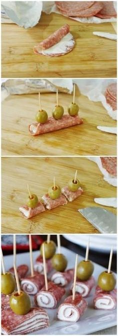 Quick Salami & Cream Cheese Bites by serena - Best finger food list No Cook Appetizers, Finger Food Appetizers, Holiday Appetizers, Easy Appetizer Recipes, Finger Foods, Delicious Appetizers, Party Appetizers, Appetizer Ideas, Thanksgiving Appetizers
