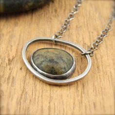 Beach stone necklace, sterling silver, green stone, handmade bezel-set Lake…
