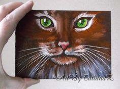 Items similar to Cat Green Eyes Original Oil Painting Decorative Art Artgift Home Decor Wall Decor oils cardboard - 18 cm) on Etsy Christmas Gifts For Husband, Red Christmas, Green Eyes, Art Decor, Oil, The Originals, Cats, Unique Jewelry, Handmade Gifts