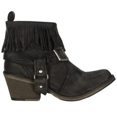 AllSaints Bonny Cuban Boot ($155) ❤ liked on Polyvore featuring shoes, boots, sapatos, black, heel boots, mid-heel boots, buckle boots, fringe boots and leather fringe boots