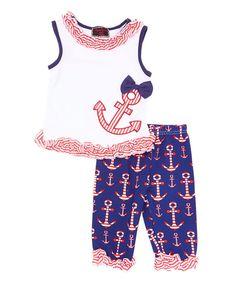 Red & Blue Anchor Tank & Pants - Infant Toddler & Girls
