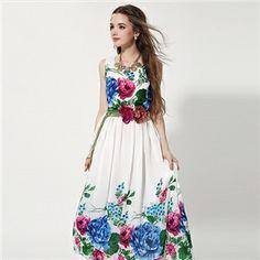 Original Design Flowers Printed chiffon sleeveless dress | berlinmo