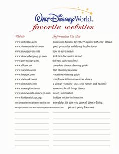 Disney World favorite websites....