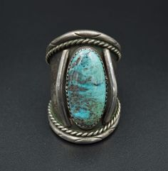 Vintage Navajo Sterling Silver Natural Turquoise Ring Size 10 OF RS1627 #Unbranded