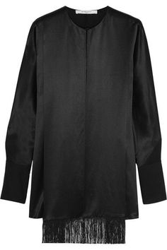 Givenchy - Fringed Top In Black Silk-satin - FR40