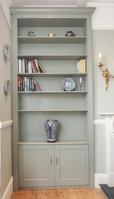 Grey fitted alcove cabinets - Jennings-Bramly Furniture Ltd Home Fireplace, Living Room Interior, Victorian Living Room, Alcove Bookshelves, Interior Design Living Room, Office Furniture Design, Alcove Ideas Living Room, Alcove Cabinets, Room Interior