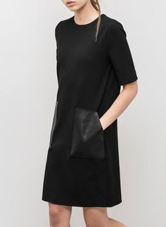 black dress, leather pockets are a cool detail