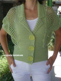 Болеро на пуговицах крючком - Модное вязание