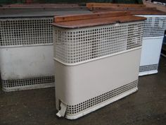 Reclaimed Industrial radiator cover c/w Oak top