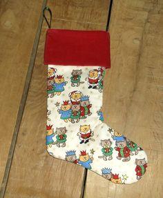 Cats, Christmas Stocking, Christmas Sock, Velvet cuff, Present stocking, Ribbon hook, Fully lined, Present holder, Als Crafty Corner by AlsCraftyCorner on Etsy