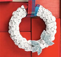 Winter Button Wreath designed by Erica Domesek, featured on Ready Made Button Art, Button Crafts, Christmas On A Budget, Christmas Crafts, Christmas Ideas, Christmas Christmas, Christmas Wedding, Holiday Wreaths, Holiday Crafts