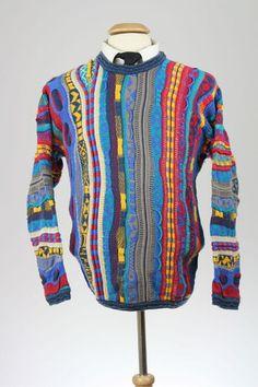 Vintage Coogi 100 Cotton Cosby Multi Color Crew Neck Mens Sweater L Ebay