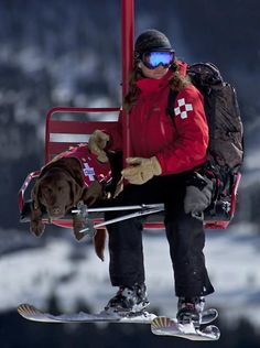 Bridger Bowl Ski Patroller Ellie Thompson and her avalanche dog Chica