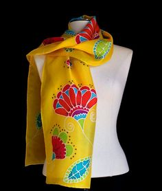 Silk scarf hand painted bright and cheerful by FantasticPheasant, $45.00