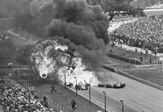 Sachs/MacDonald crash in the 1964 Indy 500.