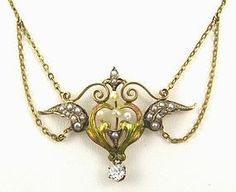 Gold Winged-Heart Necklace - Diamond - Titanic (item #1289371)