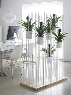 Elegant and organic room divider idea, great for a home office.~~~love~~~