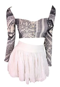 1992 Dolce & Gabbana Sheer White Skater Skirt & Cropped Bandana Top XS