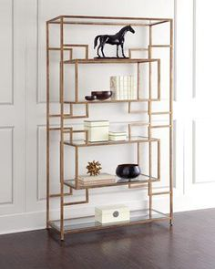 Storage Furniture - Renaldi Etagere I Horchow - modern gold etagere, gold geometric etagere, gold glass etagere,