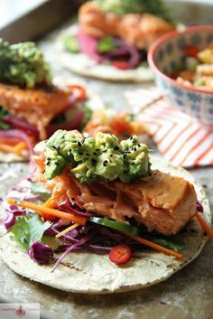 Asian Salmon Tacos - (Free Recipe below) Salmon Recipes, Fish Recipes, Seafood Recipes, Asian Recipes, Mexican Food Recipes, Healthy Recipes, Ethnic Recipes, Spinach Recipes, Pork Recipes