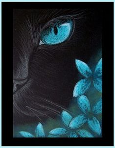 Art: Black Cat - Aqua Flowers 4 by Artist Cyra R. Cancel #catcanvaspainting