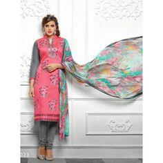 Excellent Pink Chanderi Dress Material