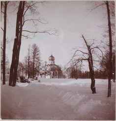 Tsarskoe Selo 1912 - 1913, inverno: Vista da Catedral Feodorovsky na neve.