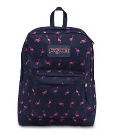 Made from polyester, full size JanSport SuperBreak backpack offers one large  main compartment, a front utility pocket with organizer, padded back panel,  ... 8a019396d7