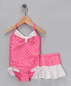 Fuchsia Polka Dot One-Piece & Skirt - Infant & Toddler