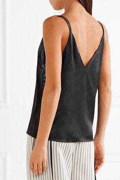 3.1 Phillip Lim - Appliquéd Chiffon-trimmed Silk-charmeuse Camisole - Black - US2