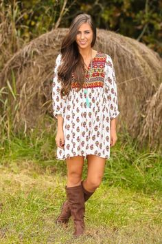 Ivory print fall dress! Prefect for all fall activities; pumpkin patch, corn maze & many more!