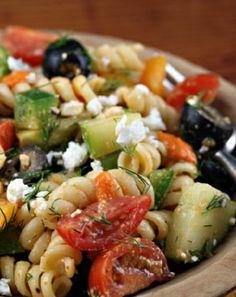 Low FODMAP and Gluten Free Feta, rocket and olive pasta salad http://www.ibssano.com/low_fodmap_recipe_feta_rocket_salad.html